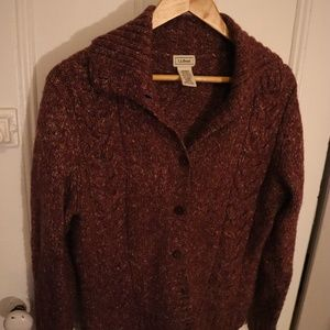 LL Bean Cable-knit Wool Button Cardigan
